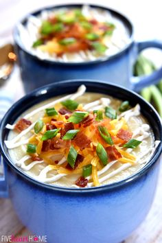 Slow Cooker Loaded Baked Potato Soup - A smooth and creamy crock pot soup garnished with a variety of toppings, from sour cream and shredded cheese to crispy bacon and green onions.