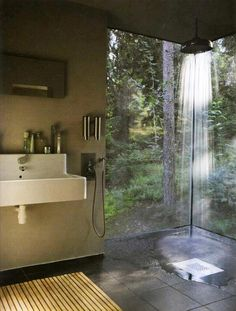 Minimalist Bathroom with Rainfall Shower and a View