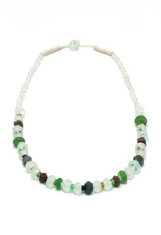 White/Green crystal necklace. www.indigoheart.com.au Crystal Necklace, Beaded Necklace, Bali, Artisan, Crystals, Green, Collection, Jewelry, Fashion