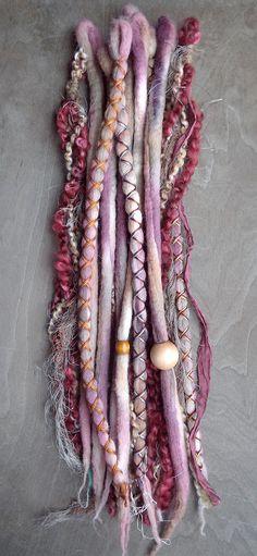 10pc Berry Tie-Dye Wool Synthetic Dreadlock by PurpleFinchStore