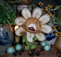 "Primitive Flower Daisy Bear Cub 7"" Doll Vtg Patti's Ratties Easter Artist OOAK"