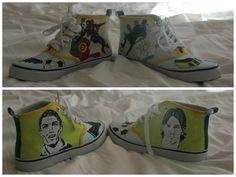 DIY, painted sneakers..Ronaldo&Messi