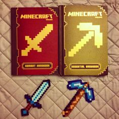 http://minecraftfamily.com for the best minecraft toys! My rainy day Perler Beads masterpieces for my kiddos. #perlerbeads #minecraft #pickaxe #sword