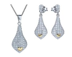 Orphelia Women's Jewellery SET Including Necklace and Earrings 925 Sterling Silver with White Zirconia - 5220 SET