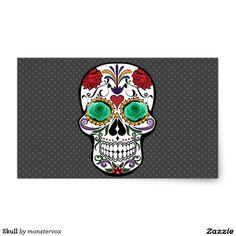 Skull Rectangular Sticker #Skull #Bone #Skeleton #Flower #Rose #Holiday #Halloween #Sticker