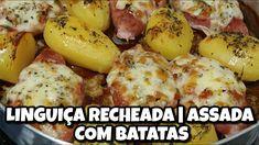 LINGUIÇA RECHEADA | ASSADA COM BATATAS - YouTube Baked Potato, Potatoes, Meat, Chicken, Baking, Ethnic Recipes, Youtube, Food, Roasts