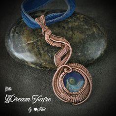 Drop of Blue Ocean - Handmade Artisan Glass Bead in Wire Woven Copper