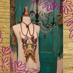 ♡♡♡Boho Razor Back Tank♡♡♡ Darling tank with bright vibrant colors. Butterflies and feathers are what make this top darling♡ 100%polyester NWOT. see U soon Tops Tank Tops