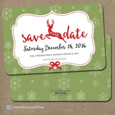 Reindeer Save the Date Christmas Party by SweetHammerPress on Etsy                                                                                                                                                                                 Mehr