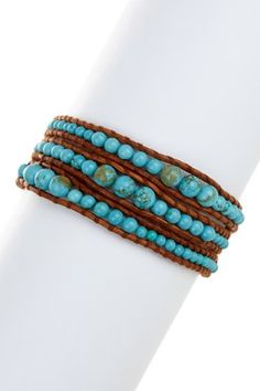 Natural Turquoise Beaded Wrap Bracelet