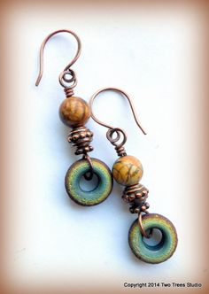 Picasso Wheels: Petite earrings with rich by TwoTreesStudio
