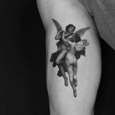 L'amour et Psyché - William Adolphe Bouguereau Mini Tattoos, Body Art Tattoos, New Tattoos, Small Tattoos, Sleeve Tattoos, Tattoos For Guys, Cool Tattoos, Weird Tattoos, Watch Tattoos