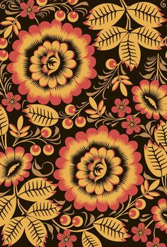 Russian Pattern by Stacksville, art, design, graphic design, illustration Deco Floral, Motif Floral, Floral Prints, Surface Pattern Design, Pattern Art, Pattern Flower, Pattern Designs, Pattern Fabric, Pretty Patterns