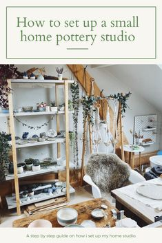 Find out my top tips on setting up a home pottery studio. I share my pottery equiptment suggests and pottery supply businesses. Studio Table, Studio Setup, Studio Ideas, Studio Design, Slab Pottery, Ceramic Pottery, Pottery Shop, Pottery Vase, Ceramic Mugs