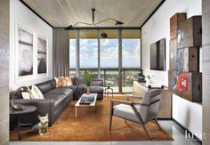 Contemporary White Media Room with City View