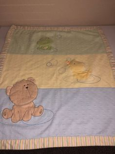 fe670b270c Carters Baby Blanket Bear Frog Duck Blue Green Yellow Stripes Edge
