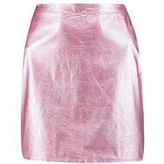 Boohoo Gianna Metallic A Line Leather Look Mini ($26) ❤ liked on Polyvore featuring skirts, mini skirts, pleated midi skirt, midi skirt, pink mini skirt, pink pleated skirt and faux leather mini skirt