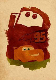 Walt Disney Pixar Cars Minimalist Movie Poster by moonposter