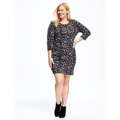 Old Navy Plus Size Jersey Shift Dress ($40) ❤ liked on Polyvore featuring plus size women's fashion, plus size clothing, plus size dresses, plus size, white dress, plus size long sleeve dresses, plus size white dress, white jersey and women's plus size dresses