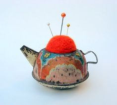 Vintage tin toy tea pot pin cushion by Kelly of Whimsical Wool in Northern California.