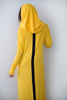 Yellow Women Cotton Hooded Dress, Loose Maxi Dress, Hooded Maxi Dress, Women's Casual Dress, Long Dress - DR0235TR by EUGfashion on Etsy