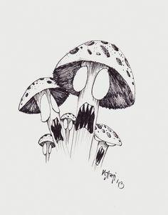 Mushroom Drawing on Pinterest Drawings Trippy and Mushroom art Stoner Mushroom Tattoos