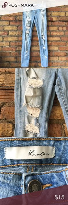 Kancan Destroyed denim skinny jeans In good used condition. A lot of rips. I think they fit a 27 better. Kancan Jeans Skinny