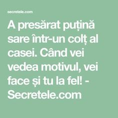 A presărat puțină sare într-un colț al casei. Când vei vedea motivul, vei face și tu la fel! - Secretele.com Cross Stitch Charts, Alter, Feng Shui, Good To Know, The Secret, Spirituality, Health Fitness, Education, Pandora