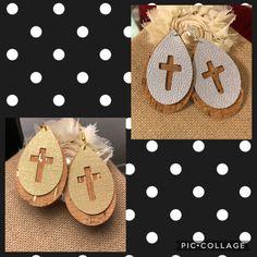 Cross Earrings, Handmade Items, Handmade Gifts, Custom Leather, Leather Jewelry, Cork, Etsy Seller, Cricut, Christmas Ornaments