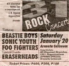 """This was when Sonic Youth, Beastie Boys & Foo Fighters visited the Philippines for the """"MTV Alternative Nation Tour"""" January Pinoy Band Beastie Boys, January 20, Foo Fighters, Pinoy, Pallet Projects, Mtv, Philippines, Alternative, Youth"""