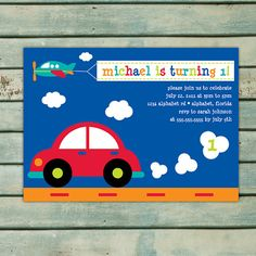 Transportation Birthday Invitation - Printable Invitation - Boy Birthday Party - Car Invitation - Airplane Invite - Red Blue Orange Green