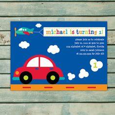 Transportation Birthday Invitation - Printable Invitation - Boy Birthday Party - Car Invitation - Airplane Invite - Red Blue Orange Green