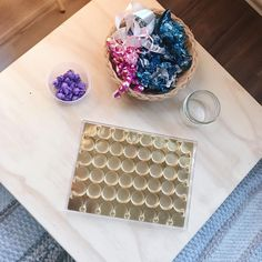 Loose parts play can be free! Using leftover holiday wrapping and chocolate boxes for an engaging activity - perfect for infant, toddler and preschooler play. Chocolate Boxes, Toddler Preschool, Infant Toddler, Wrapping, Wraps, Play, Holiday, Free, Coats