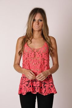 jeniffer lace top- coral