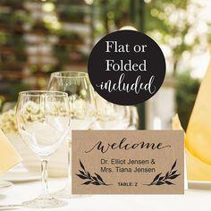 Rustic Kraft Floral Wedding Place Card Template Vintage