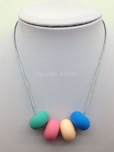collar de dentición de silicona - masticables de enfermería - Oval Bead - sin BPA - collar de enfermería - lactancia collar