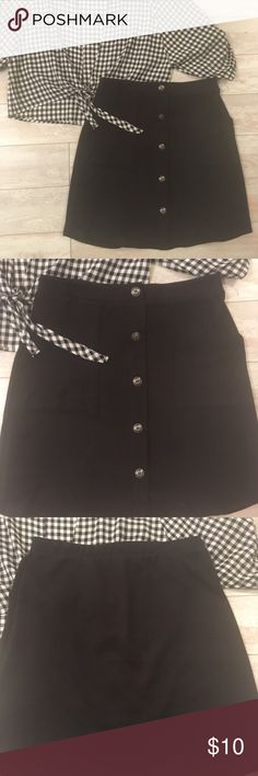 Black Skirt [REPOSHING] Cute and super super soft. It's labeled as a small but I'd say it's a bit big for a small. I think someone who wears a medium would be ideal. Could even be large for more of a body con look. Stretchy material as well. I'm 5'2 and typically a XS-S and it was a looser look for me.  The skirt fell right around my knees. Let me know if you'd like to see pictures of it on Skirts Mini