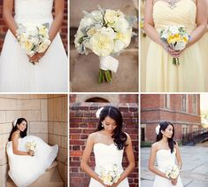 Pale yellow bridesmaid dresses, and pale yellow posy bouquets. Photo: Jodi Miller