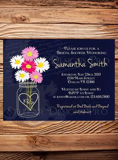 Daisies Mason Jar Bridal Shower Invitation, Chalkboard, Navy Blue, Pink, White, Mason Jar, Daisy Wedding Shower, Daisies Bridal Shower