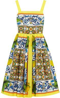 I need this dress - it matches my Deruta China! Dolce & Gabbana Printed cotton-poplin dress on shopstyle.com