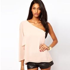 One Shoulder chiffon blouse. To place your orders log on to our website. #friyay #shopsneakpeek