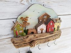 23 Clever DIY Christmas Decoration Ideas By Crafty Panda Driftwood Crafts, Wooden Crafts, Wooden Diy, Wooden Decor, Wooden Wall Hooks, Wooden Hangers, Wall Key Holder, Wooden Key Holder, Ideias Diy