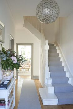 20 Incredible Stair Runner Home Decor House Stairs – hallway Hallway Designs, Hallway Ideas, Hallway Inspiration, House Stairs, Carpet Stairs, Carpet Runner On Stairs, Grey Stair Carpet, House Entrance, Small Entrance Halls