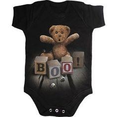 """Body bébé gothique noir à ours en peluche et cubes de jeu """"BOO !"""""""