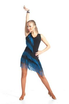 """Striking fringe dress that will give you the edge and confidence for a dazzling performance. This beautiful latin dress features two color diagonal fringe that will complement your every move and """"wow"""
