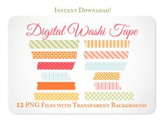 Instant Download Bright Digital Washi Tape Clipart Clip Art - French Picnic Collection - Free Clipart w order