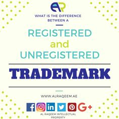 A registered trademark has been approved and entered on the Trademark Register held by the Trademarks Office. Registration is proof of ownership. An unregistered trademark may also be recognized through Common Law as the property of the owner, depending on the circumstances. For a more detailed description read Trademarks explained www.alraqeem.ae (C)tmweb Register your trademark now at Al Raqeem Intellectual Property For free consultation and more details email kaycee@alraqeem.ae…