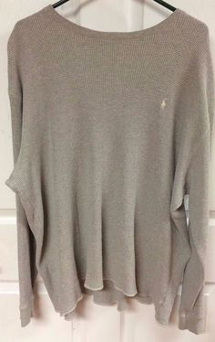 Mens Gray Polo Ralph Lauren Waffle Long Sleeve Shirt Thermal Top Size XL X Large #PoloByRalphLauren #Thermal