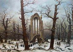Casper David Friedrich Abbey graveyard under snow