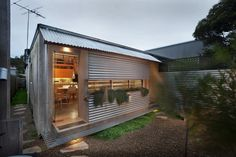 Corrugated metal cladding lends these homes a charming, rough around the edges quality. - Luke Hopping's Modern Corrugated Metal Facades design collection on Dwell. Metal Facade, Metal Siding, Cheap Houses, Corrugated Metal, Australian Homes, Home Remodeling, Small Spaces, Tiny House, Architecture Design